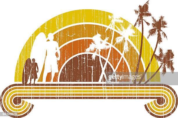 seventies surf sunset - surfboard stock illustrations