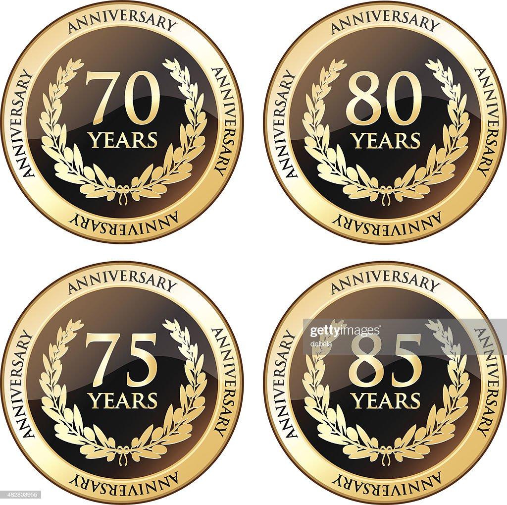 Seventieth And Eightieth Anniversary Awards : stock illustration