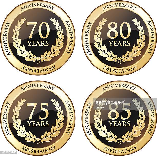 seventieth and eightieth anniversary awards - 75th anniversary stock illustrations, clip art, cartoons, & icons