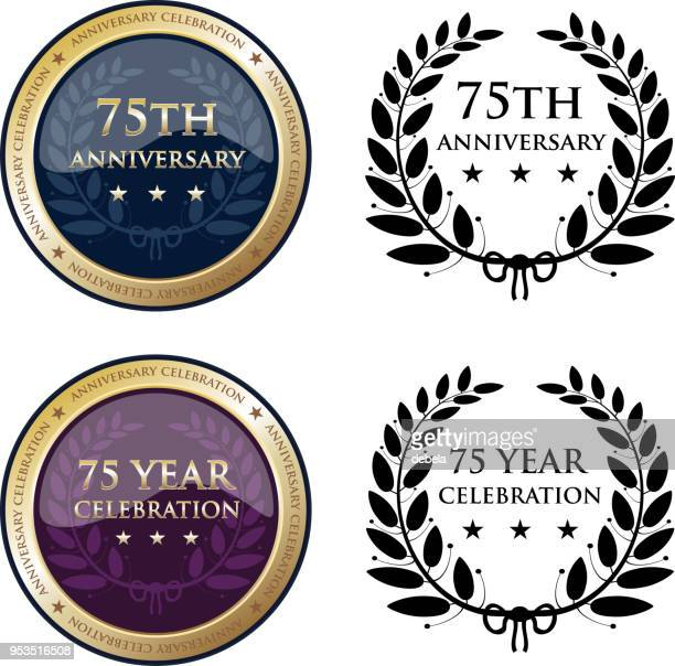 seventy fifth anniversary celebration gold medals - number 75 stock illustrations, clip art, cartoons, & icons