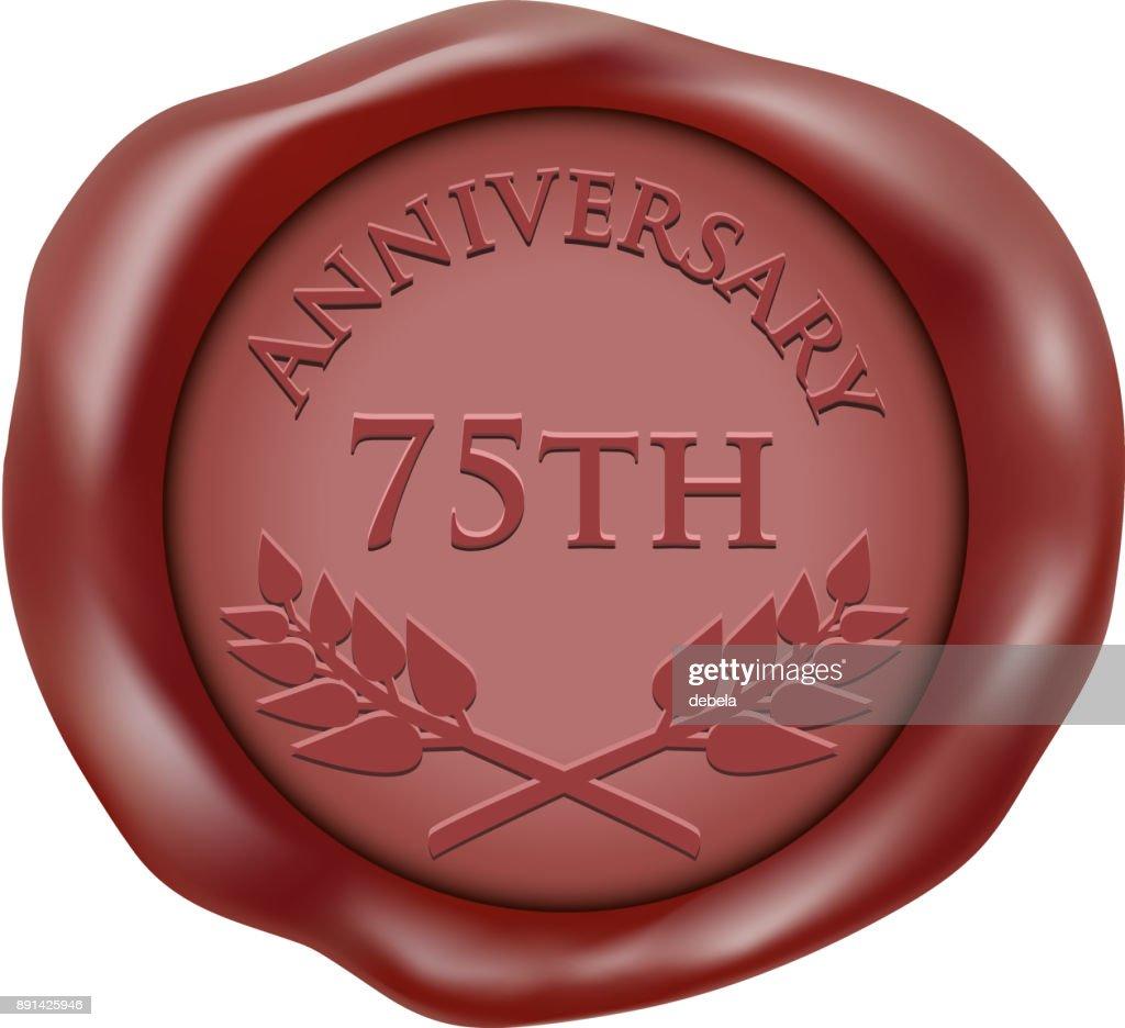 Seventy Fifth Anniversary Wax Seal Icon : stock illustration