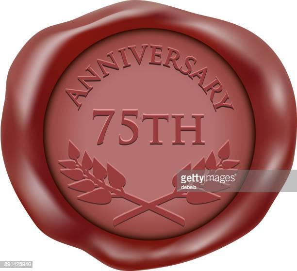 seventy fifth anniversary wax seal icon - 75th anniversary stock illustrations, clip art, cartoons, & icons