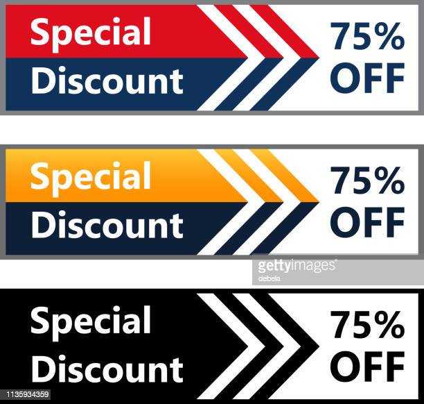 Seventy Five Percent Off Special Discount Price Offer Web Banner Collection