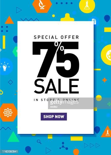 seventy five percent sale poster - number 75 stock illustrations, clip art, cartoons, & icons