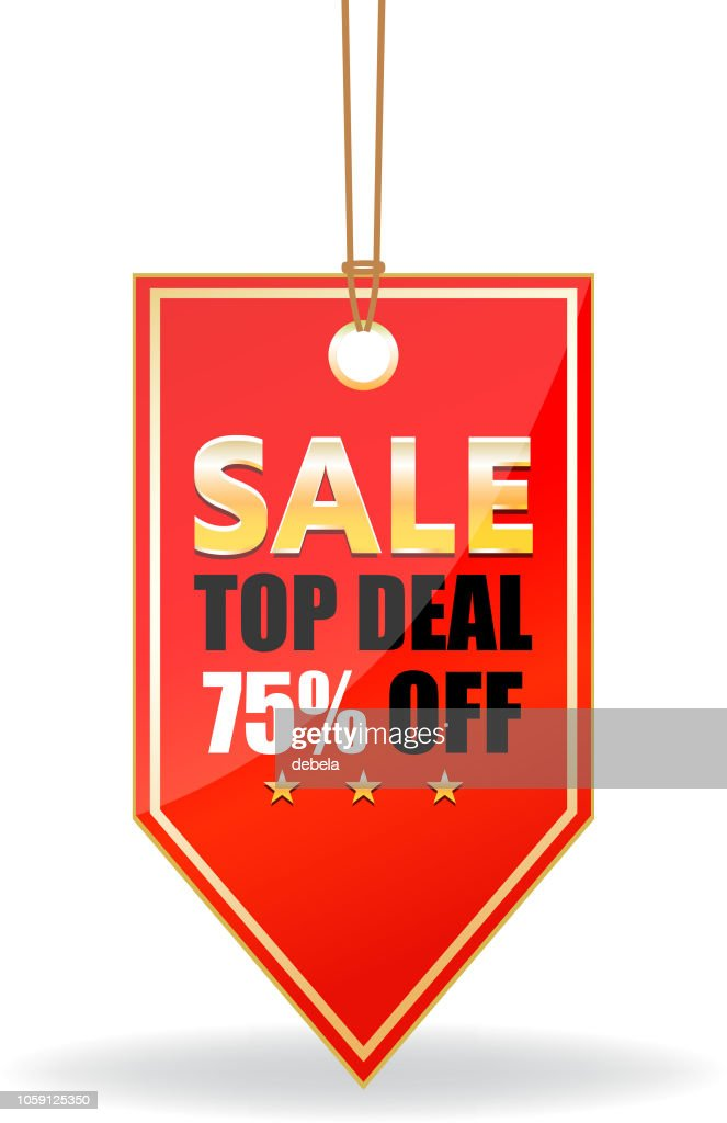 Seventy Five Percent Sale Top Deal Shiny Red Price Tag On A Rope : stock illustration