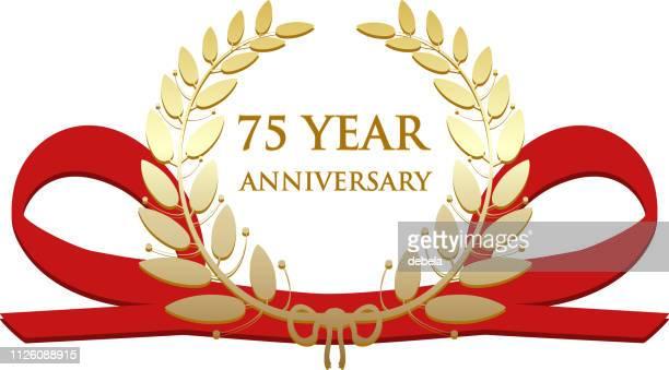 seventy five year anniversary celebration gold award - number 75 stock illustrations, clip art, cartoons, & icons