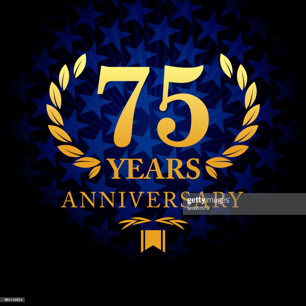 Seventy five year anniversary icon with blue color star shape background : stock illustration