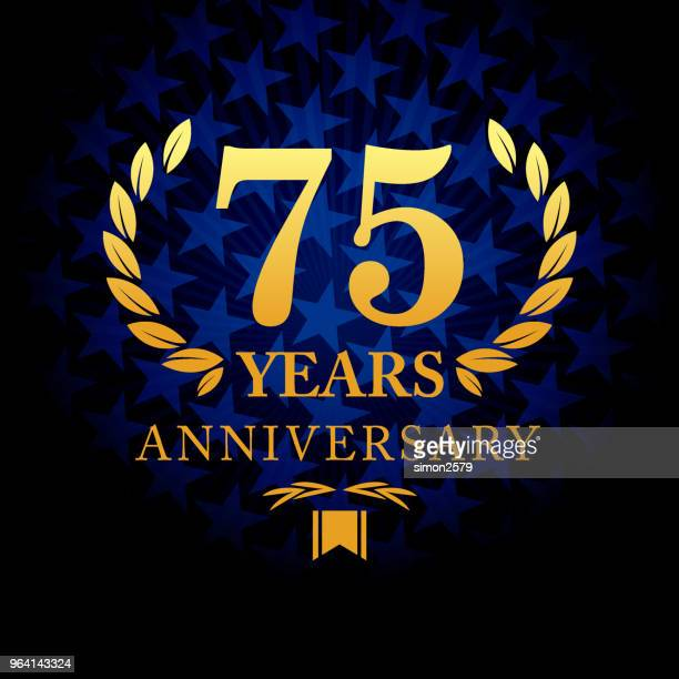 Seventy five year anniversary icon with blue color star shape background