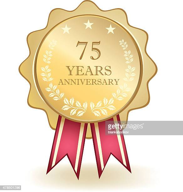 seventy five year anniversary medal - number 75 stock illustrations, clip art, cartoons, & icons