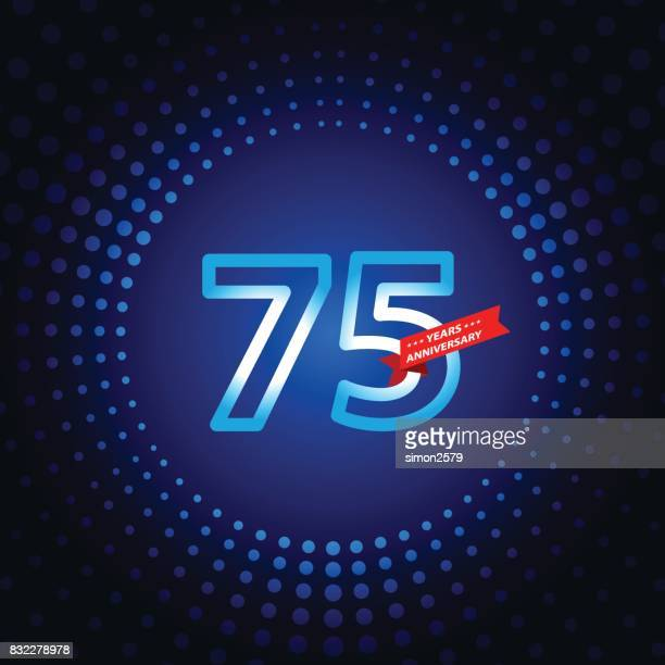 seventy five years anniversary icon with blue color background - 75th anniversary stock illustrations, clip art, cartoons, & icons