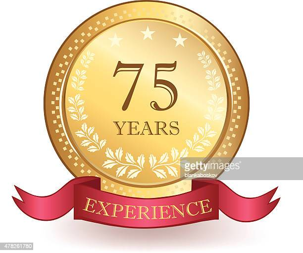 seventy five years experience banner - number 75 stock illustrations, clip art, cartoons, & icons
