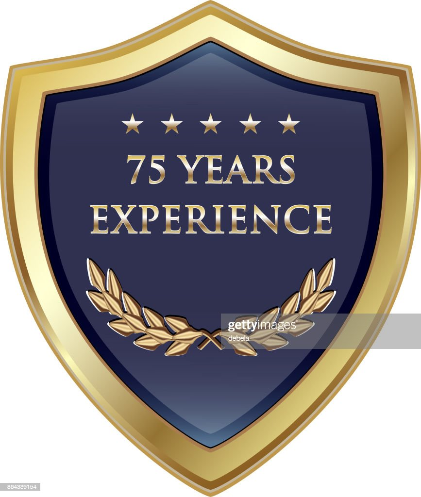Seventy Five Years Experience Gold Shield : stock illustration