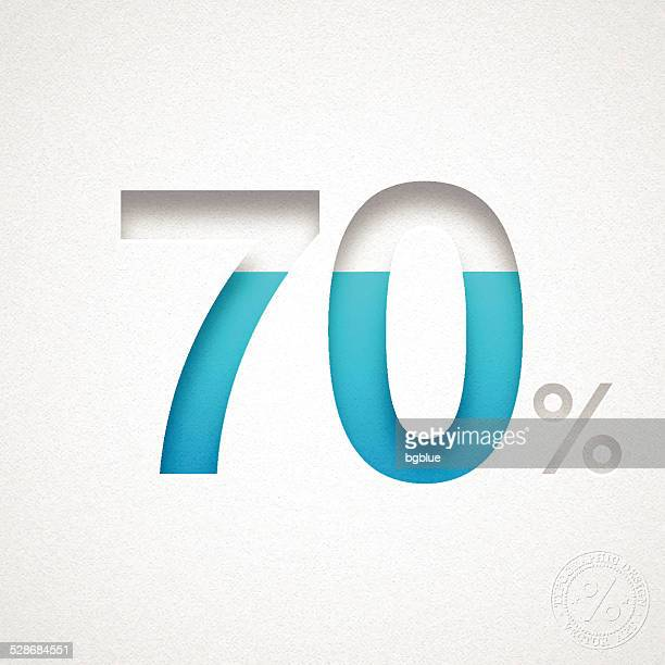 seventy percent design (70%) - blue number on watercolor paper - percentage sign stock illustrations