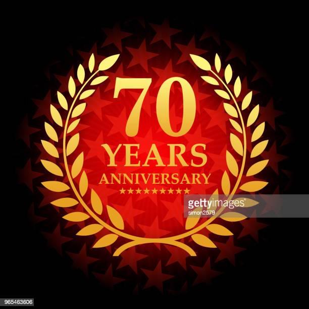 星の図形の背景の赤い色と 70 年周年記念アイコン - 70周年点のイラスト素材/クリップアート素材/マンガ素材/アイコン素材