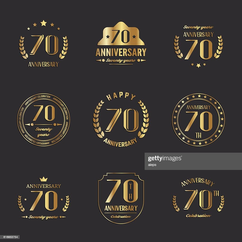 Seventy years anniversary celebration logotype collection. 70th anniversary logo. : Vector Art