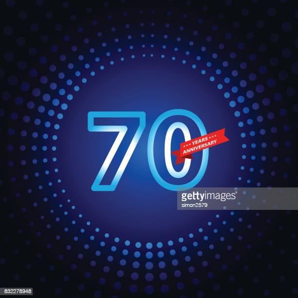 青い色の背景を持つ 70 年周年記念アイコン - 70周年点のイラスト素材/クリップアート素材/マンガ素材/アイコン素材