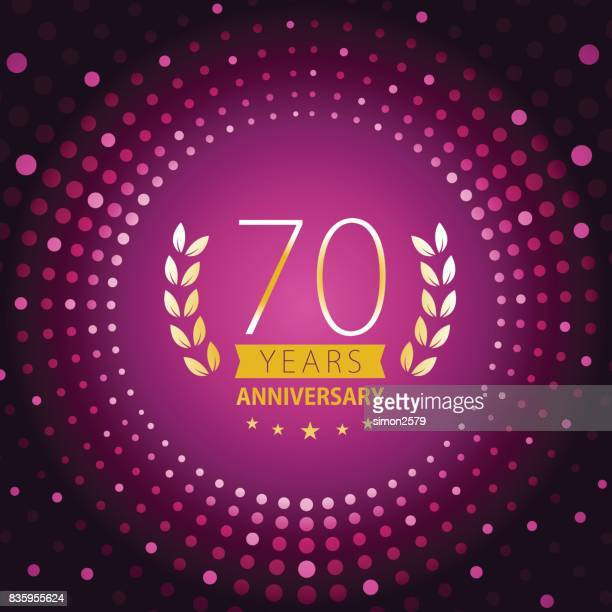 紫の色の背景を持つ 70 年周年記念アイコン - 70周年点のイラスト素材/クリップアート素材/マンガ素材/アイコン素材