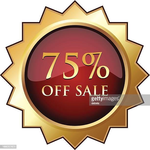seventy-five percent off sale - number 75 stock illustrations, clip art, cartoons, & icons