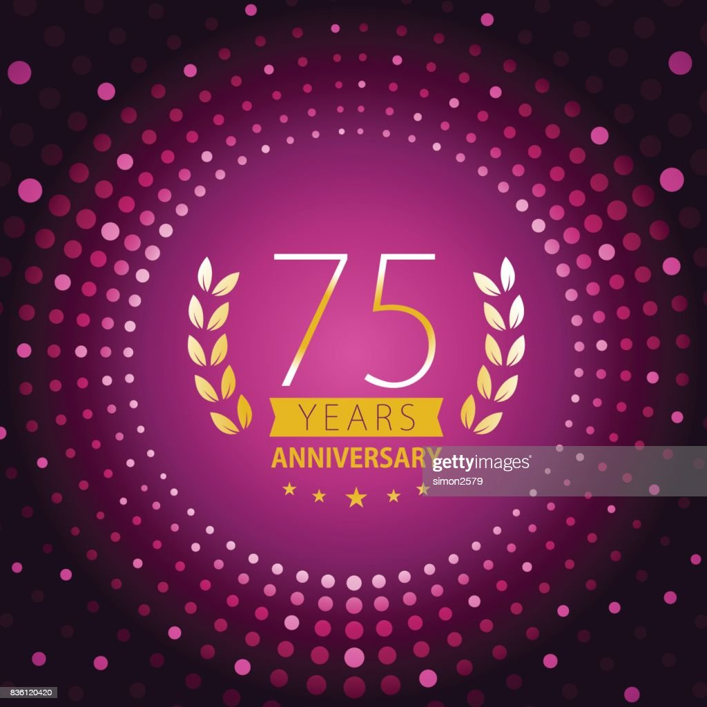 Seventy-five years anniversary icon with purple color background : stock illustration