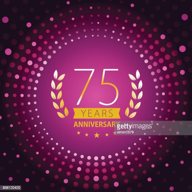 seventy-five years anniversary icon with purple color background - 75th anniversary stock illustrations, clip art, cartoons, & icons