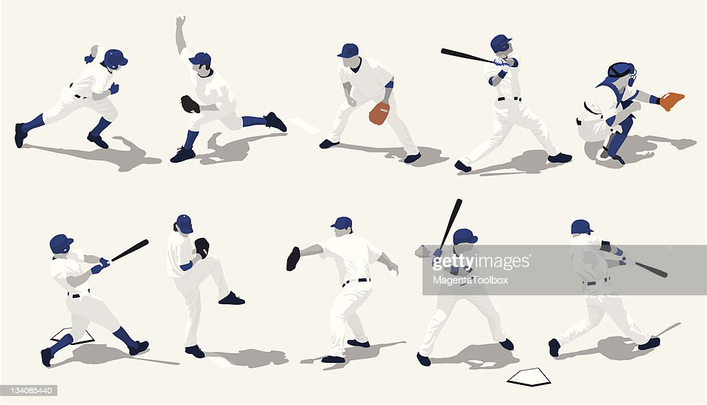 Several baseball players in different positions