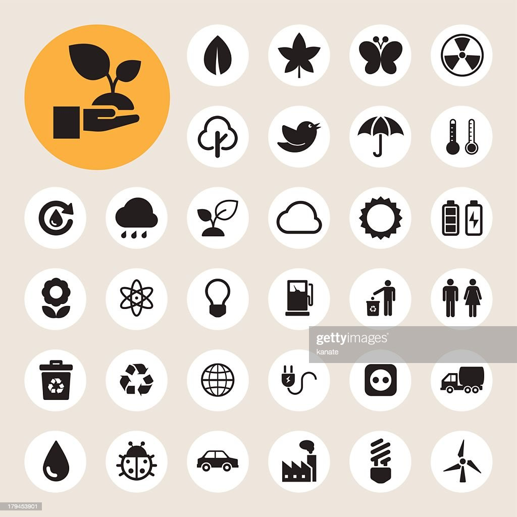 Several black and white icons about eco energy