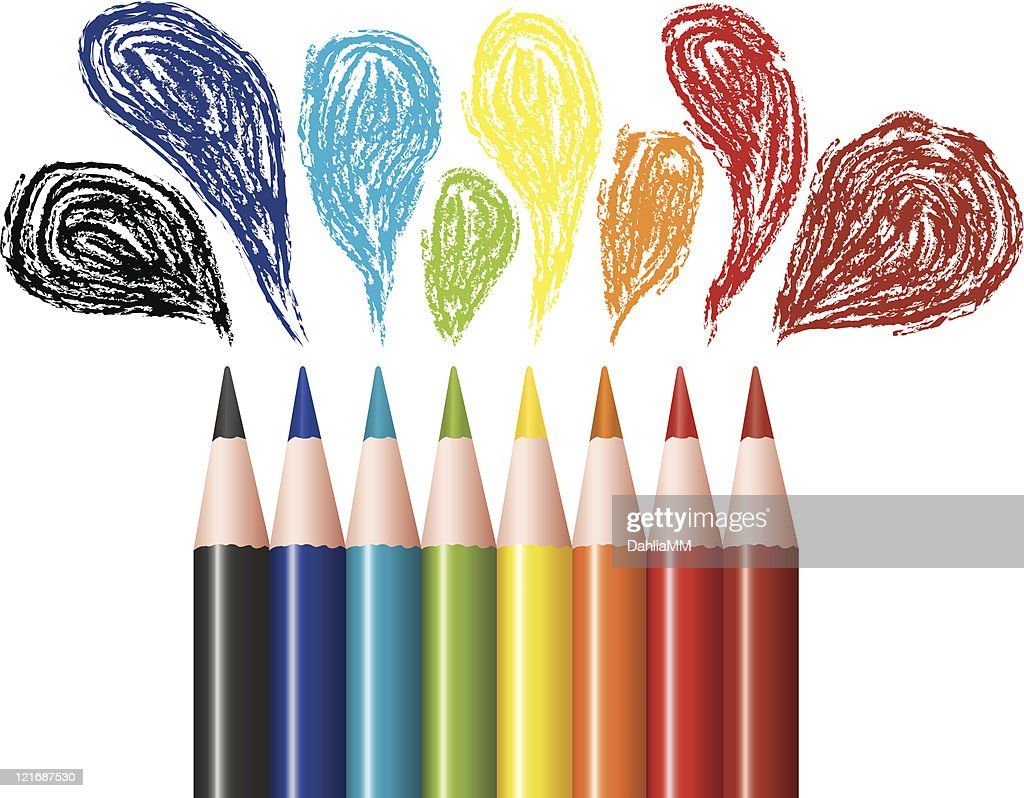 Several colored pencils with drawn bubbles