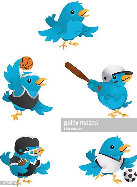 Several computer graphics of blue birds with sport equipment
