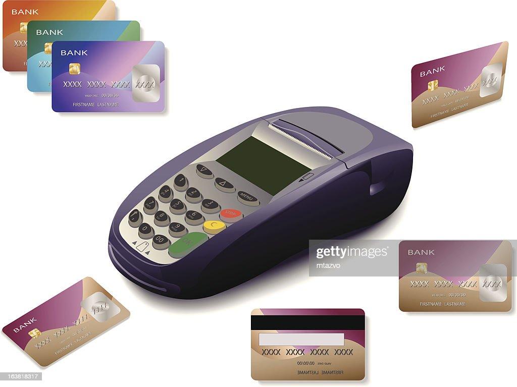 Several credit cards circling terminal