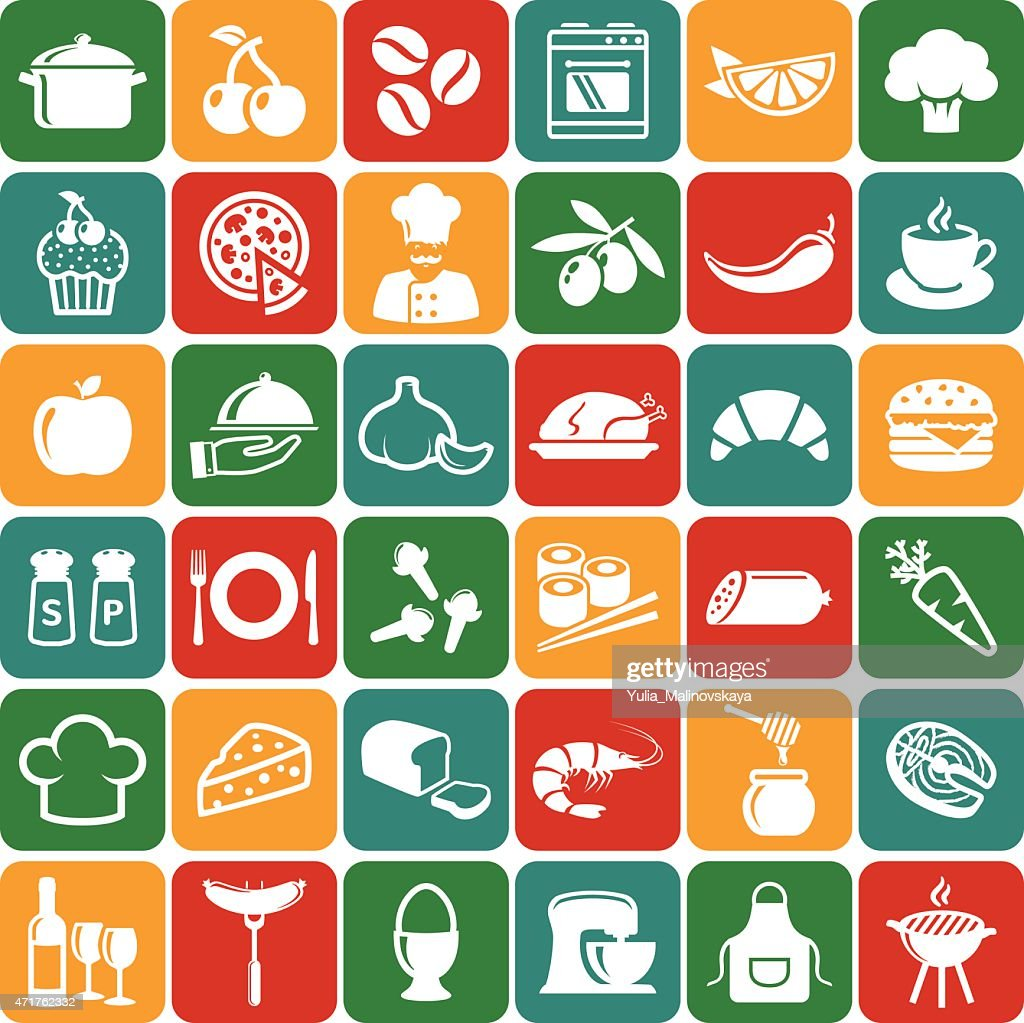 Several food and cooking icons as a background