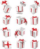 Several gift boxes displayed amongst a white background