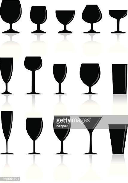 several glass silhouette set - mulled wine stock illustrations, clip art, cartoons, & icons