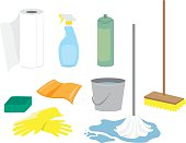 Several images of household cleaning supplies
