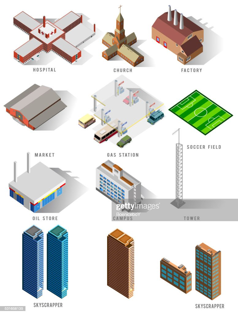 several isometric building set