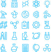 Several pale blue science related icons