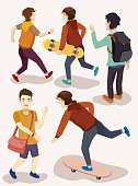 several people isometric vector set. skateboarder, students, mature, adult, man