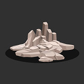Several rock stones of gray color and different shapes. Vector illustration.