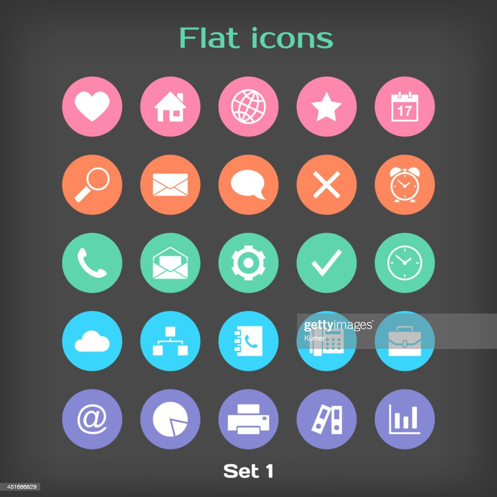 Several rows of flat round colorful icons