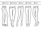 Several silhouettes of trousers