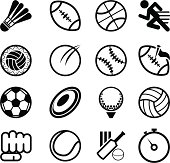 Several sports related icons on a white background