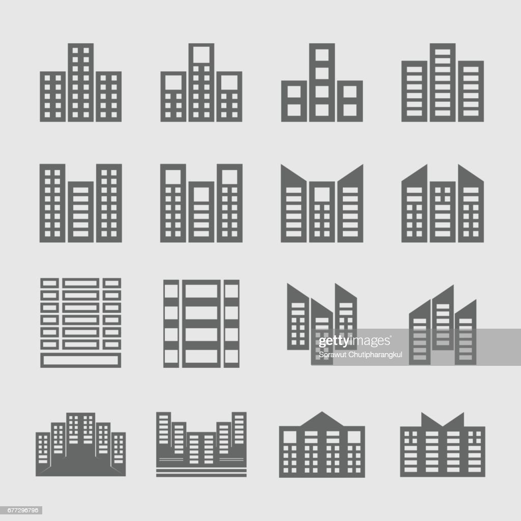 several style of building icons set