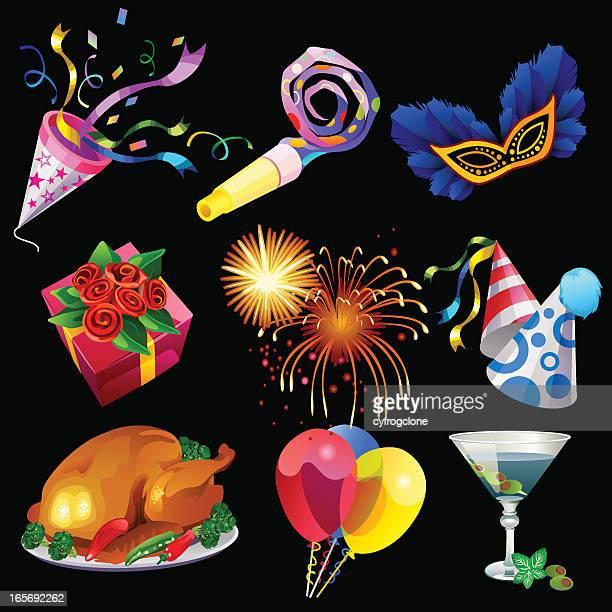 ilustraciones, imágenes clip art, dibujos animados e iconos de stock de celebración - pollo asado