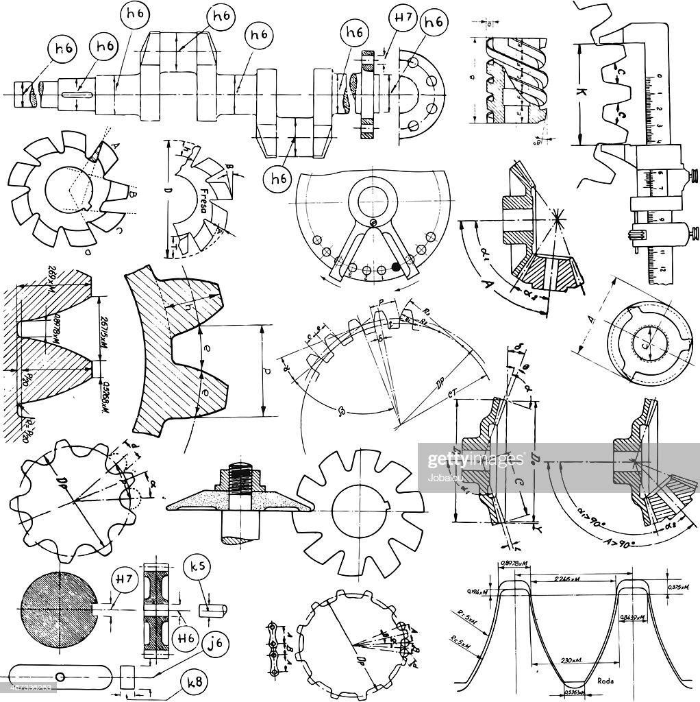 Vários desenhos técnicos : Ilustração