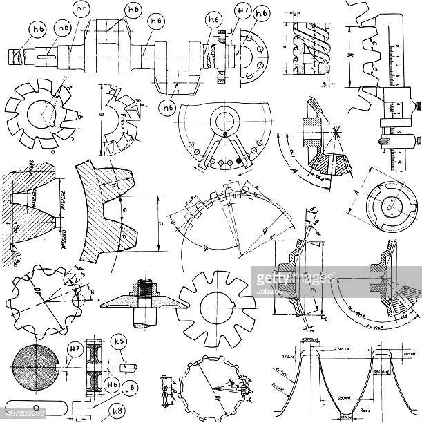 several technical drawings - machine part stock illustrations