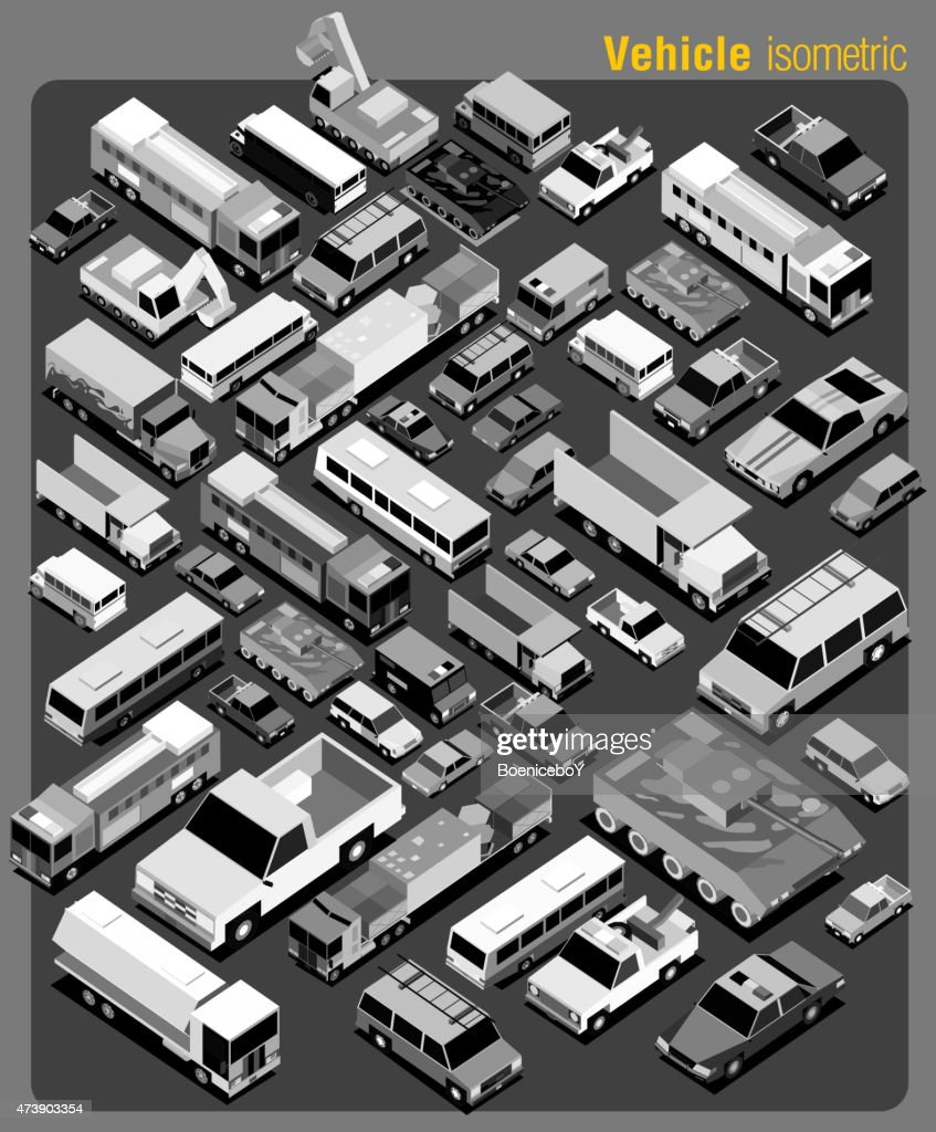 several transportation isometric greyscale