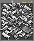 several transportation isometric greyscale