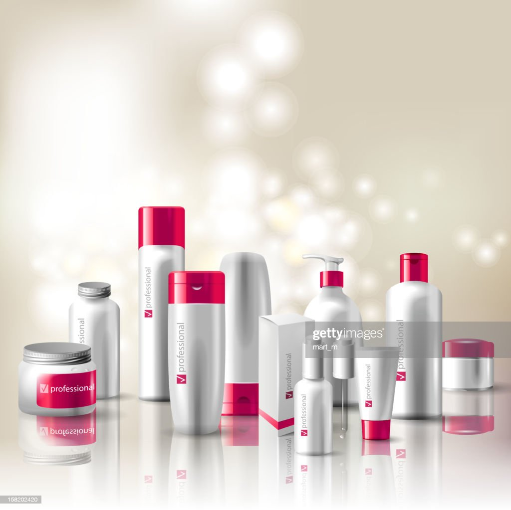 Several types of cosmetic containers in red and white