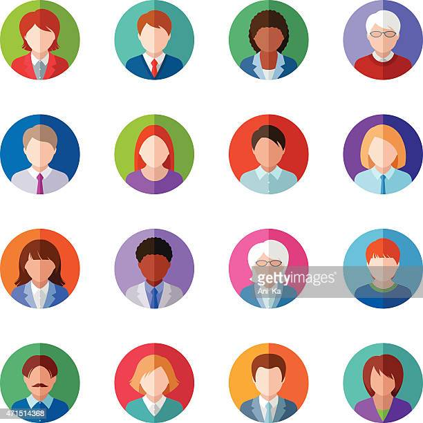 several vector images of people icons - avatar stock illustrations