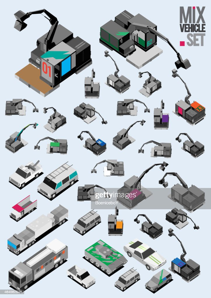 several vehicle isometric set. industrial, auto mobile, car vector