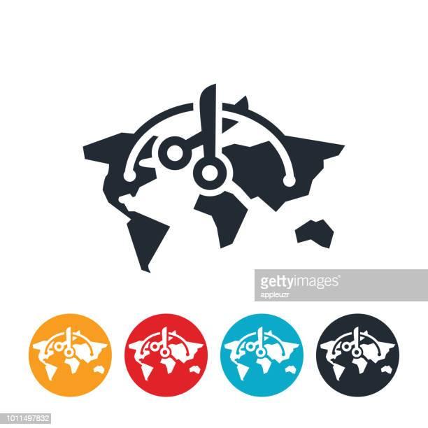severed global relations icon - tariff stock illustrations